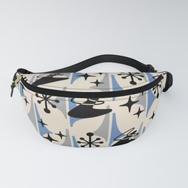 Mid Century Modern Cosmic Boomerang 726 Black Blue and Gray Fanny Pack