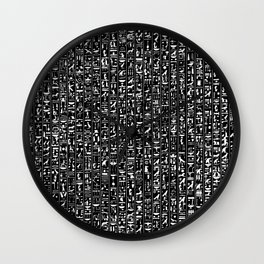 Hieroglyphics B&W INVERTED / Ancient Egyptian hieroglyphics pattern Wall Clock