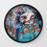 hippie Wall Clocks featuring Hippie Circus by Dulcamara