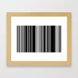 Vertical Stripes # 3 in black, gray and white Framed Art Print