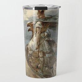 Vintage Raiding Vikings Painting (1873) Travel Mug