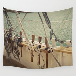 Sailboat Ropes and Lines Color Photo Wall Tapestry