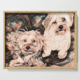 Penny and Copper dogs Art Signed Serving Tray