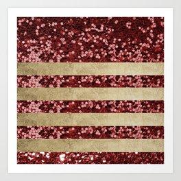 Geometric chic gold burgundy red glitter sequins Art Print
