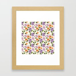Rustic orange lavender ivory floral illustration Framed Art Print