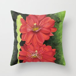 Cactus red flower blooming in Spring Throw Pillow