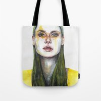 yellow Tote Bags featuring yellow lemongrass by agnes-cecile