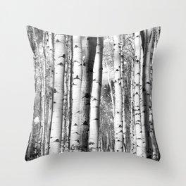 Aspens in Black + White Throw Pillow
