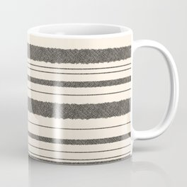 Textured Mesh Stripes in Black and Almond Cream  Coffee Mug