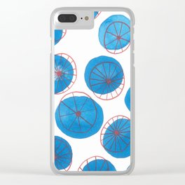 Blue drops, red wheels Clear iPhone Case