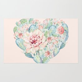 Cactus Rose Heart on Pink Rug