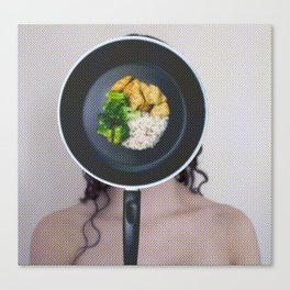 Self-portrait Masked by Domesticity [Frying Pan] Canvas Print