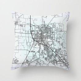 Denton TX  USA White City Map Throw Pillow