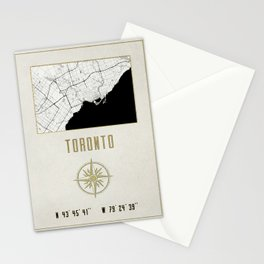 Toronto - Vintage Map and Location Stationery Cards