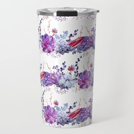 Pastel pink lavender blue watercolor succulents cactus floral Travel Mug