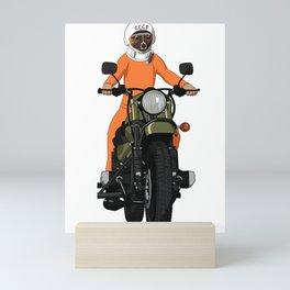 The first dog in space Laika on motorbike Mini Art Print