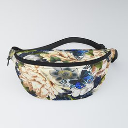 night and day flowers butterflies pattern Fanny Pack