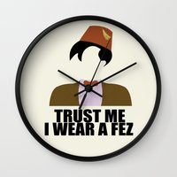 fez Wall Clocks featuring Trust Me I Wear a Fez by 2hootsdesign
