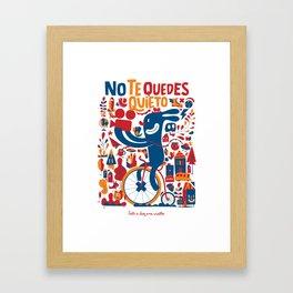 blue rabbit on bicycle Framed Art Print