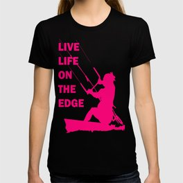 Live Life On The Edge Neon Pink Kitebeach T-shirt