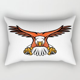 Bald Eagle Swooping Front Mascot Rectangular Pillow