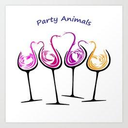 Party Animals Four on White Art Print