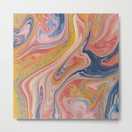 Abstract Oil and Glitter Painting Metal Print