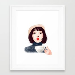 French woman with coffee Framed Art Print