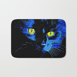 Marley The Cat Portrait With Striking Yellow Eyes Bath Mat