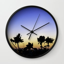 Blue Hour Sunset With Flowers Wall Clock