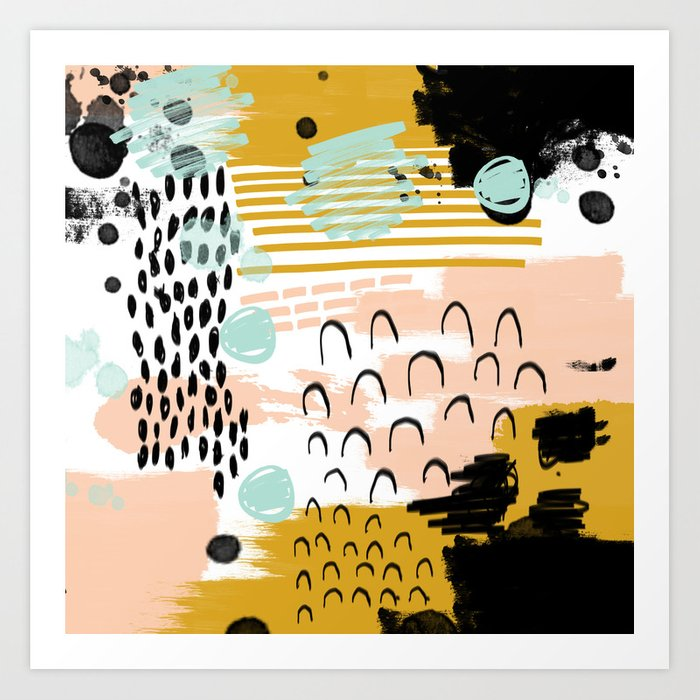 Ames Abstract Painting Hipster Home Decor Trendy Color Palette Art