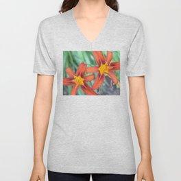 Flower | Flowers | Two Tiger Lilies | Nadia Bonello Unisex V-Neck