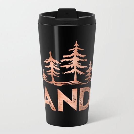WANDER Rose Gold Trees on Black Metal Travel Mug