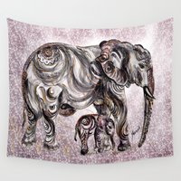 ganesh Wall Tapestries featuring Mom Eephant by Harsh Malik