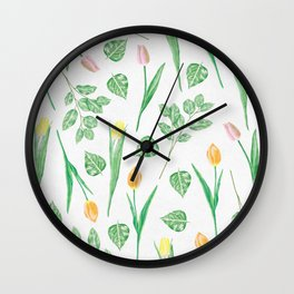 Tulips Floral Pattern Wall Clock