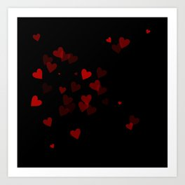 Hearts (black) Art Print