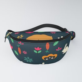 Cute little animals among flowers Fanny Pack