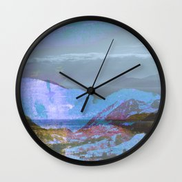 Vintage landscape layer collage photography - blue Wall Clock