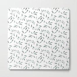 Silver Celadon Willow Metal Print