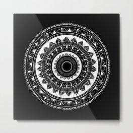 Ukatasana white mandala on black Metal Print