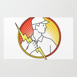 Electrician Holding Lightning Bolt Circle Monoline Rug