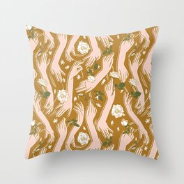 Hands joined rose bushes Throw Pillow