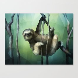 Sloth (Low Poly Green) Canvas Print