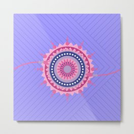 Mandala Galaxy Blue Lines Pattern Metal Print