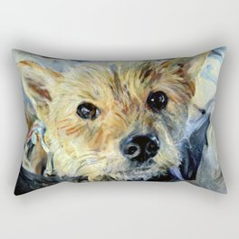 Cute puppy, dog impressionist painting Rectangular Pillow