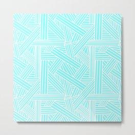 Sketchy Abstract (White & Aqua Pattern) Metal Print