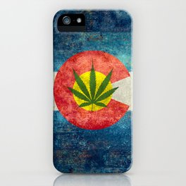 Retro Colorado State flag with leaf - Marijuana leaf that is! iPhone Case
