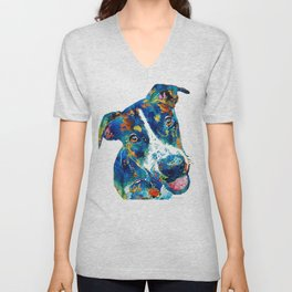 Colorful Dog Art - Happy Go Lucky - By Sharon Cummings Unisex V-Neck