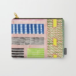 Friendly Pattern Mix On Pink Carry-All Pouch