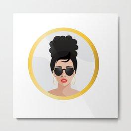 Woman in the Mirror - Gold - Medium Metal Print